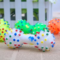 Wholesale Dog Training Supplies Pet Chew Toys Dot Sound Toys Soft Rubber Dumbbell Chewing Toys Random Color HV0010 salebags