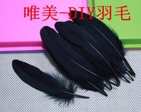 Wholesale Beautiful feathers Have disinfection large black goose feather cm