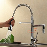 Wholesale 2016 Hot Sell Newest Kitchen faucet pull out with two spouts swiveling water mixer kitchen taps
