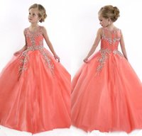 little girl - New Little Girls Tulle Pageant Dresses Princess Sheer Jewel Crystal Beads White Floor Length Coral Kids Flower Girls Dress