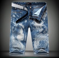 beauty denim shorts - 2016 Jeans Shorts For Men Stylish Beauty Dragon Painted Designer Streetstyle Fashion Denim Straight Shorts