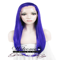 Wholesale Synthetic Wig High Density Purple Lace Wig Extra inch Long Straight Heat Resistant Fiber Synthetic Lace Front Wig