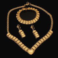 Wholesale Heart Necklace Set K Real Gold Plated Fashion Jewelry sets style Romantic Statement Necklace Earrings Jewelry Set Women