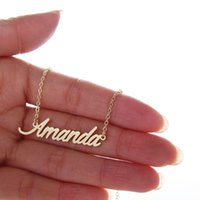 Chokers amanda gifts - Popular Women Personalized Nameplate Necklace letters quot Amanda quot Stainless Steel Gold and Silver Customized Necklace NL