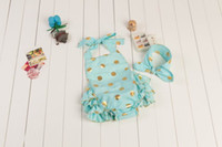 Wholesale 2016 New Baby Girl onesies Gold Polka Dot Cute Ruffle Sleeveless onesies Include Headbands Y