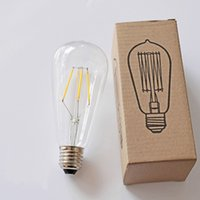 Wholesale ST64 Led Filament BUlb Dimmable W W Squirrel Cage Antique Edison Lighting E27 B22 E26 Angle V V Decorative LED Replacement Bulb