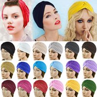 bandana cap - Hot Sales Women Lady Stretchy Polyester Turban Head Wrap Hat Band Bandana Hijab Pleated Indian Styles Caps PX71
