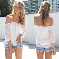 off the shoulder tops - Hot Sale New Lace Blouses Shirt Women Off The Shoulder Ladies Lace Blusas Women Tops Floral Crochet Sexy Blouse