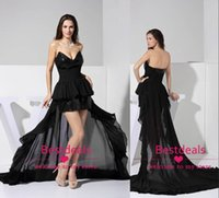 short strapless dress - Backless Hi Lo Prom Dresses Bling Black Strapless Sequins Short Chiffon Homecoming Dress Graduation Gowns Real Image Party Dress WD1056