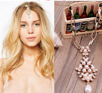 Wholesale 2015 New Fashion Wedding Bridal Hair Accessories for Women Beaded Pearl Head Chain Hair Jewelry Women Bridal Crown Ornaments