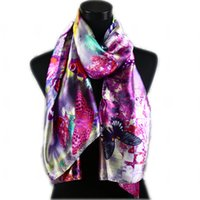 butterfly in flower - 1pcs Women s Fashion Satin Purple Butterfly in Flower Oil Painting Long Wrap Shawl Beach Silk Scarf X50cm