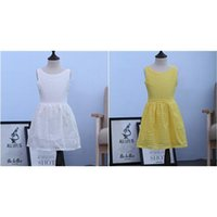 Cheap New 2015 100% cotton kids summer dress for todder girls solid color yellow white dress teen clothing girls princess dress