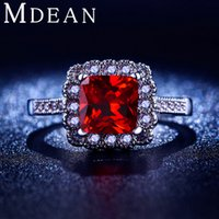 big gem rings - White gold filled jewelry Red gem inlaid big CZ diamond rings Engagement Bague Bijoux Luxury Accessories MSR200