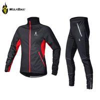 Wholesale Fleece Thermal Winter Wind Cycling Jacket Windproof Bike Bicycle Coat Clothing Casual Long Sleeve Jersey Pants Set WOLFBIKE Men