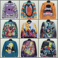 Wholesale Newest Style Iswag inc d Men Pullovers Sweaters Toy Story Buzz Lightyear Cartoon Simpson Print Unisex Hoodies Sweatshirts