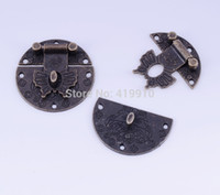 Wholesale Sets Bronze Tone Jewelry Wooden Case Boxes Making Lock Latch Hardware mm D2737