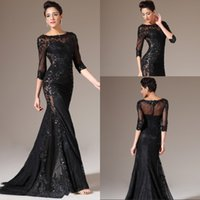 Wholesale Newest Elegant Mermaid Jewel Black Lace Sweep Train Organza Evening Dresses With Long Sleeve See Through Cheap Long Mother Gowns