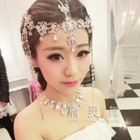 Cheap Wedding Hair Accessories Bridal Jewelry crystal bead headpiece long tassel floral headdress Ladies Tiara headband