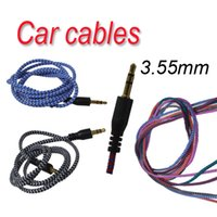 Wholesale Braided Audio Auxiliary Cable m mm Wave AUX Extension Male to Male Stereo Car Nylon Cord Jack For Samsung phone L