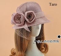 Wholesale Fashion Stingy Brim Hats Dome Women Hats Wedding Bridal Birdcage Veil Flower Feather Sinamay Hats