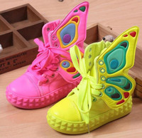 Girl baby skate shoes - new fashion children sneakers high top wings canvas girls shoes for kids spring autumn shoes for baby boys