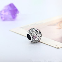 Wholesale 925 Silver European Charms Bead DIY Midnight Pink Shining Round Zircon Fit Pandora Snake Chain Bracelets Bangles DIY Jewelry