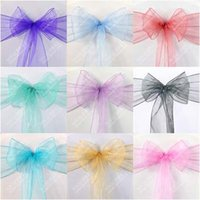 Wholesale DHL High quality Colorful Wedding Events Party Ribbons Buckles Royal Blue Pink Organza Chair Covers Sash Bows
