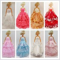 Wholesale New Mixed style Handmade Party Doll s beautiful Dress Clothes Gown For Barbies best baby christmas A1200