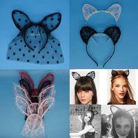 animal fancy dress accessories - Sex Woman Lady Lace Cat Ear Bunny Headband Mask Carnival Fancy Dress Party Wedding Headbands Hair Accessories Valentine s day