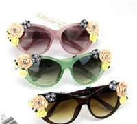 Cheap Candy Color Frame Sunglasses Floral Style 2015 new arrival Mix Color 10pcs Free Shipping 0427B2