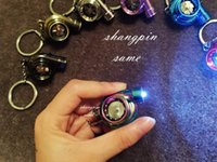 Wholesale New Fashion LED Flashlight Turbo Keychain Spinning Turbo Turbine Turbocharger Keychain Key Chain Ring Keyring Keyfob Keyrings