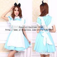 Wholesale Hot Sale Alice In Wonderland Dress Lolita Dress Maid Cosplay Fantasia Carnival Halloween Costumes For Women Plus Size M L XL
