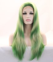 beauty queen wig - new arrival green wig drag queen cosplay wig synthetic lace front wig for beauty in stock