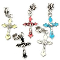 bead bracelet with cross - MIC Colors x43 mm Cute Enamel Cross With Jesus on Metal Big Hole Beads Dangle Fit European Charm Bracelets B499