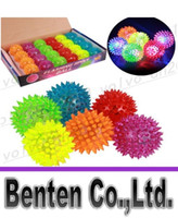 Wholesale cm rubber color changing light up bouncy ball led flashing toy led flashing puffer ball music ball LLFA1958F