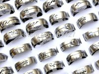 bulk lots - HOT pc Mixed Cool Mens Silver Hollow Style Stainless Steel Rings Bulk Jewelry