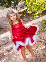 Wholesale Hot christmas dress for baby girls fashion children girl bling sequin princess red dresses clothing for Christmas New year party C357