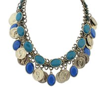 Wholesale 2015 New listing unique women man s head coin necklace Europe and United States resin necklace EXL2