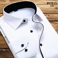 cotton polyester shirts - 2015 Fashion Patchwork White Men Shirts Colours Long Sleeve Turn Down Collar Mens Business Clothes Groom Tuxedos Shirt