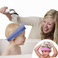 Wholesale Kair smart silicone air cushioned adjustable baby waterproof shampoo cap child shower hat kids bath visor with weather strip