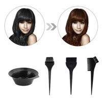 Wholesale 4pcs set Hair Dye Colouring Brush Comb Black Plastic Mixing Bowl Barber Salon Hairdressing Color brush combs kit Styling Tools