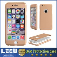 Wholesale iphone plus s plus galaxy s7 edge s6 s5 degree full body PC hard case front and back cover in phone case with tempered glass
