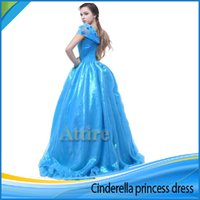 Wholesale New Cinderella Princess Dress for women Prom Dress Off Shoulder Butterfly Tull Ball Gown Blue Party Pageant costume cosplay dress for adults