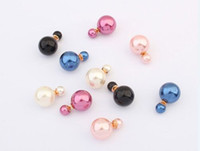 Wholesale Celebrity Runway Double Pearl Earrings Clay Crystal Bead Vintage Multiple Colors Anti allergic Earrings For Women Dance Party Accessories