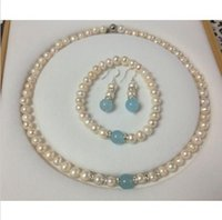aquamarine pearl earrings - Mouse over image to zoom Real White Akoya Cultured Pearl Aquamarine bracelets necklace earrings set