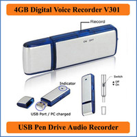 Wholesale 2 in Mini GB USB Digital Voice Recorder Dictaphone Rechargeable Recording Pen Drive Sound Audio Recorder Hours WAV VR301