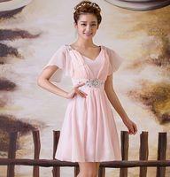 Wholesale Evening Dresses Shoulder evening dress Toast dress bridesmaid dress short engagement with evening dress