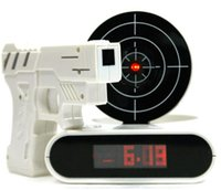 Wholesale Free DHL whole sale Novelty Target Panel Shooting Game LCD Gun Alarm Clock Gadget Toy Gift Clocks
