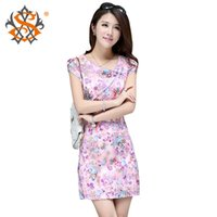 Wholesale Retro Peony Print Cheongsam Chinese Women Qipao Evening Ball Gown MIni Dress New Chinese national costume Chinese style clothing