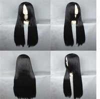 Wholesale Silk Straight Cosplay Hair Cm Long Black Synthetic Hair for Women Beauty Cosplay Costume Wigs CB015